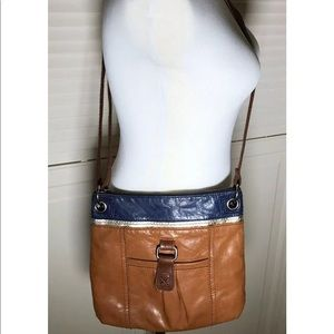 The Sak Kendra Leather Crossbody Purse Brown Blue